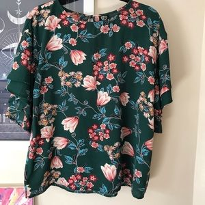 Emerald Green Floral Blouse